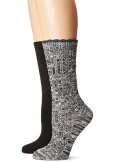 Steve Madden Women's Marled Scallop Cuff Boot Sock 2 Pack