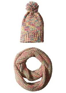 Steve Madden Women's Mixed Yarn Multi Colored Knit Infinity Muffler and Knit Hat