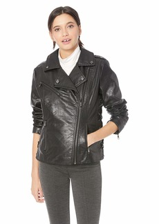 Steve Madden Women's Moto Jacket Faux Leather with Side Lacing Black L