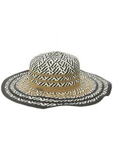 Steve Madden Women's Multi Colored Tribal Straw Floppy Hat