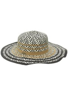 Steve Madden Women's Multi Colored Tribal Straw Floppy Hat