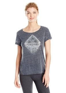 Steve Madden Women's No Place Like Om Relaxed Roll Sleeve Graphic Tee  L
