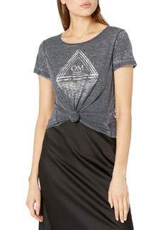 Steve Madden Women's no Place Like Om Relaxed Roll Sleeve Graphic Tee  S