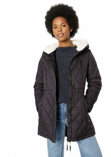 Steve Madden Women's Nylon Anorak Jacket Quilted with Sherpa Black S