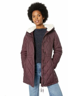 Steve Madden Women's Nylon Anorak Jacket Quilted with Sherpa Merlot M