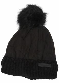 Steve Madden Women's Nylon Puffer Hat with Faux Fur Pom black