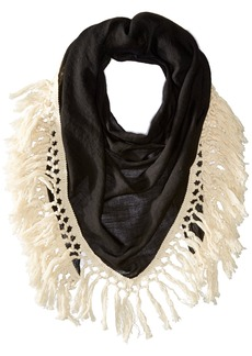 Steve Madden Women's Oversized Cotton Tassel Scarf black