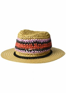 Steve Madden Women's Panama Hat with Striped Pom Band