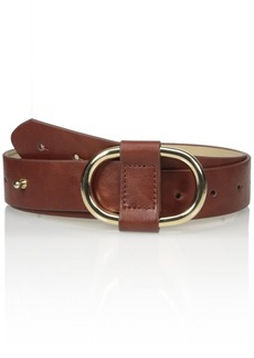 Steve Madden Women's Pant Belt with Center Perforation and Semi Wrapped Buckle
