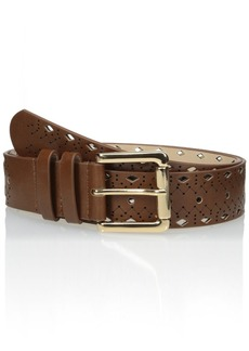 Steve Madden Women's Pant Belt with Diamond Perforations and Embossing