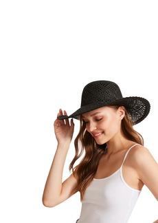 Steve Madden Women's Paper Straw Open Weave Wide Brim Hat  ONE Size