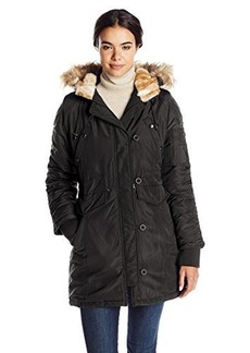 Steve Madden Women's Parka with Sherpa Lining and Rouched Sleeves