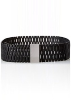 Steve Madden Women's Perforated Belt with Elongated Rectangle Plaque  Small/Medium