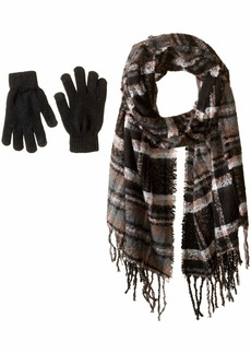 Steve Madden Women's Plaid Boucle Blanekt Wrap with Etouch Glove Set black ONE SIZE