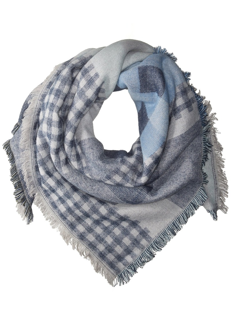 Steve Madden Women's Plaid Variety Square Blanket Wrap Scarf denim