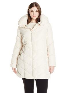 Steve Madden Women's Plus Size Chevron Packable Puffer Jacket