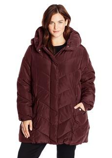 Steve Madden Women's Plus-Size Chevron Packable Puffer Jacket with Hood Plus