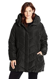 Steve Madden Women's Plus-Size Chevron Packable Puffer Jacket with Hood Plus  3X