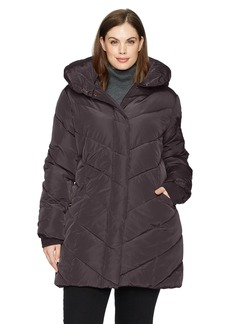 Steve Madden Women's Plus-Size Chevron Puffer Jacket