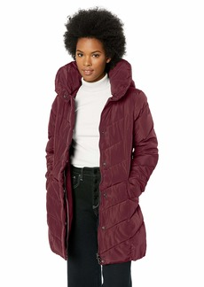 Steve Madden Women's Plus Size Chevron Quilted Puffer Jacket