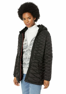 Steve Madden Women's Plus Size Glacier Shield Parka Jacket Special Black