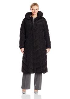 Steve Madden Women's Plus-Size Long Chevron Maxi Puffer Coat Plus