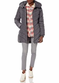 Steve Madden Women's Plus Size Long Chevron Quilted Outerwear Jacket