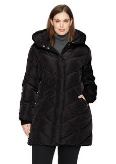 Steve Madden Women's Plus Size Long Outerwear Jacket Black a