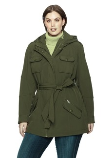 Steve Madden Women's Plus Size Military Softshell Anorak