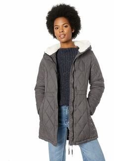 Steve Madden Women's Plus Size Nylon Anorak Jacket Quilted with Sherpa Grey Heather
