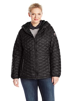 Steve Madden Women's Plus-Size Quilted Anorak with Hood Plus
