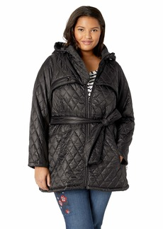 Steve Madden Women's Plus Size Quilted Softshell Jacket Black