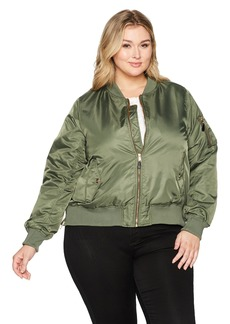 Steve Madden Women's Plus Size Satin Bomber Jacket
