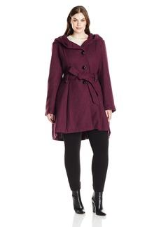 Steve Madden Women's Plus Size Single Breasted Wool Blend Coat