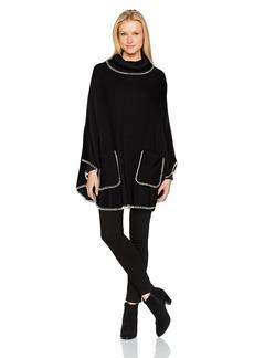 Steve Madden Women's Plush Turtleneck Poncho With Pocket black