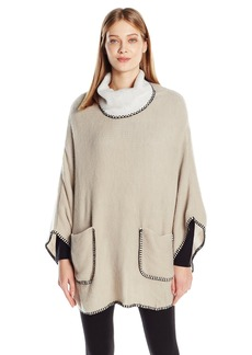 Steve Madden Women's Plush Turtleneck Poncho with Whipstitch