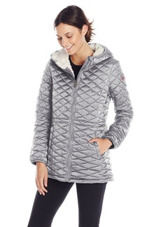 Steve Madden Women's Quilted Anorak with Hood Silver
