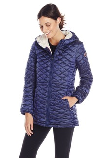 Steve Madden Women's Quilted Anorak With Hood Indigo