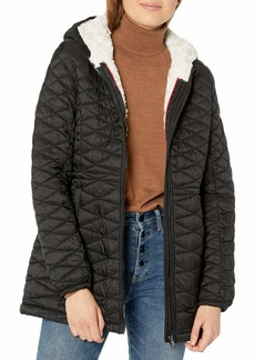 Steve Madden Women's Quilted Anorak with Hood  M