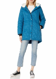 Steve Madden Women's Quilted Anorak with Hood Nylon with Sherpa Teal M