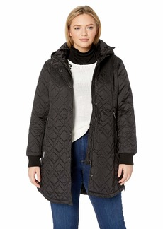 Steve Madden Women's Quilted Fashion Jacket Mini Black L