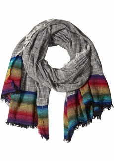 Steve Madden Women's Rainbow Hem Scarf with Fringe black