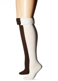 Steve Madden Women's Ruffle Cuff Over The Knee Sock 2 Pack
