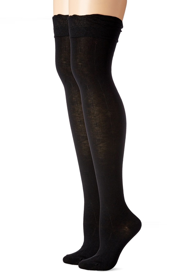 Steve Madden Women's Ruffle Cuff Over The Knee Sock 2 Pack Black