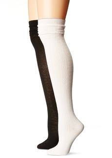Steve Madden Women's Scallop Cuff Over the Knee Sock 2 Pack