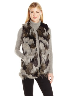 Steve Madden Women's Shades Of  Faux Fur Long Vest XS/S