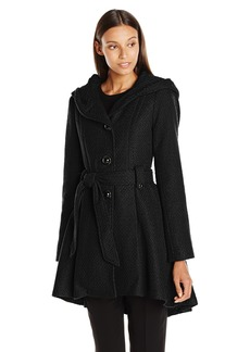 Steve Madden Women's Single Breasted Wool Coat Black