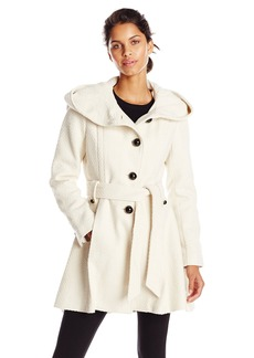 Steve Madden Women's Single Breasted Wool Coat Ivory