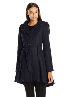 Steve Madden Women's Single Breasted Wool Coat Navy