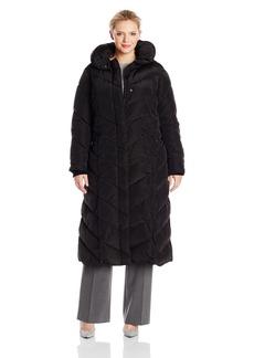 Steve Madden Women's Size Long Chevron Maxi Puffer Coat Plus
